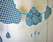 Rain Cloud Banner, Rain Cloud Garland, Gray Blue Black, Nursery Decoration, Children's Bedroom Decor, Playroom Banner, April Showers