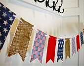July Fourth Banner, Patriotic Banner, Red White Blue, Patriotic Flag Garland, USA Flag, Memorial Day Decoration, July Fourth Decoration