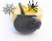 Cauldron Spells Bucket Halloween Fall Design Mold Polymer Clay Resin Button Magnet Mould
