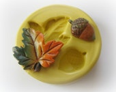 Pat of Butter Autumn Leaf Acorn Mold Mould Resin Clay Fondant Wax Soap Miniature Sweet Flower