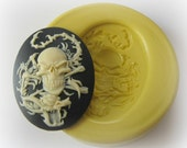 Lady Skull Cameo 30x40mm Mold Silicone Flexible Kawaii Moulds