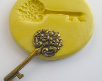 Key Mold Mould Resin Clay Fondant Flower Victorian Jewelry Charms Flexible Molds