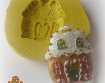 Silicone Gingerbread House Mold Butter Pat Flexible Mold Christmas House Cottage Gingerbread House Mold