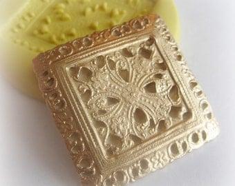 Square Brooch Filigree Mold Silicone Resin Clay PMC Fondant Mould