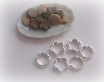 Teeny Tiny Cookie Cutters Dollhouse Scale Miniature Circle Star Flower
