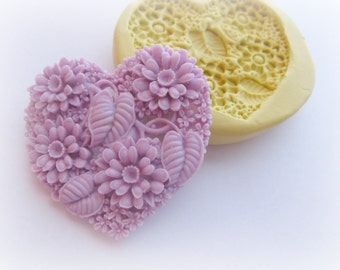 DIY Wedding Flower Heart Mold Silicone Soap Clay Resin Mould