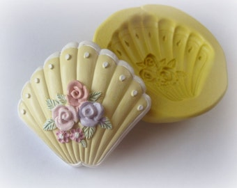 Shell Flower Rose Guest Soap Silicone Mold Magnet Brooch Clay Resin Mould