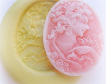 Lady Cameo Mold Flower Girl Victorian Clay Candy Resin Mold