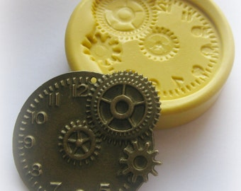 Gears Clock Steampunk Mold Gothic Jewelry DIY Resin Clay Moulds
