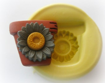 Autumn Clay Pot Sunflower Mold Fondant Resin Polymer Clay Mould DIY Button Magnet Finding