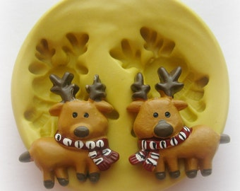 Reindeer Mold Mould Resin Clay Fondant Jewelry Charms Flexible Molds