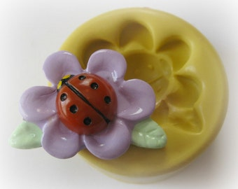 Flower Lady Bug Mold Silicone Open Flower Mould Resin Clay Fondant Polymer Clay Mould