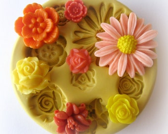 Molds Silicone Mold Cabochon Flower Mold Resin Polymer Clay Moulds