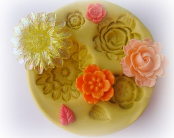 Cabochon Flower Mold Resin Polymer Clay Moulds