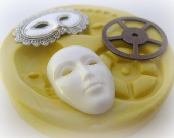 Silicone Mask Mold Mardi Gra Mold Gear Steam Punk Mold Deco Carnival Jewelry DIY Silicone Mold
