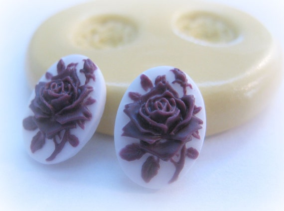 TINY Rose Cameo Mold TINY  Flower Cameo Cabochon Resin Polymer Clay Gum Paste Mould