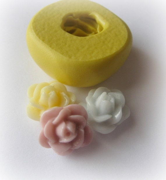 Rose Mold Cabochon Silicone Open Flower Mould Resin Clay Fondant Moulds