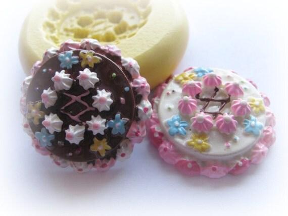 Cake Tart Pie Mold Mould Resin Clay Fondant Miniature SweetsJewelry Charms Flexible Molds