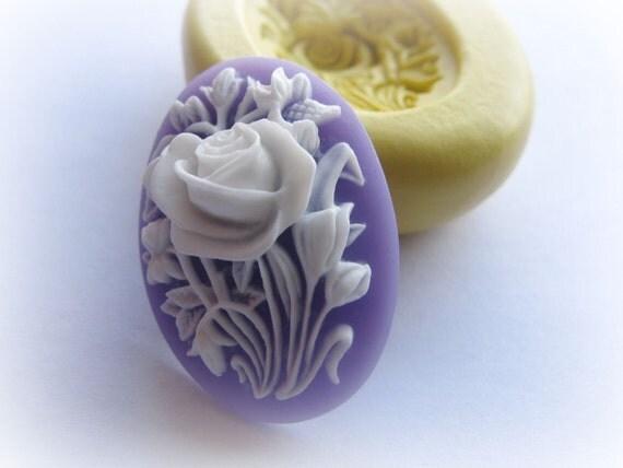 Flower Cameo Flexible Mold Victorian Soap Candy Resin Mold