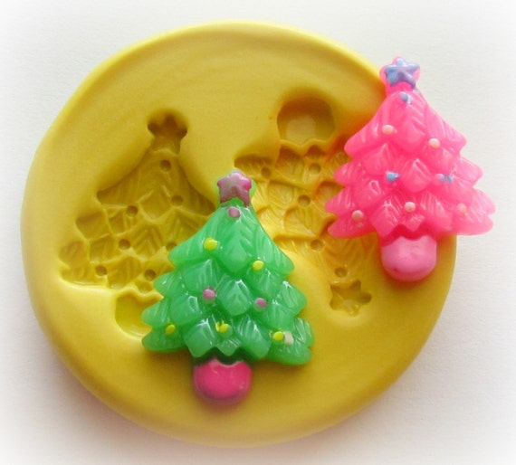 Christmas Tree Mold Christmas in July DIY Button Resin Polymer Clay Mould