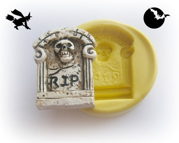 Tombstone RIP Skull Headstone Halloween Gothic Cabochon Resin Polymer Clay Wax Mold Mould