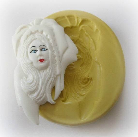 Profile Face Lady Mold Steampunk Deco Woman Steam punk Jewelry DIY Silicone Mold