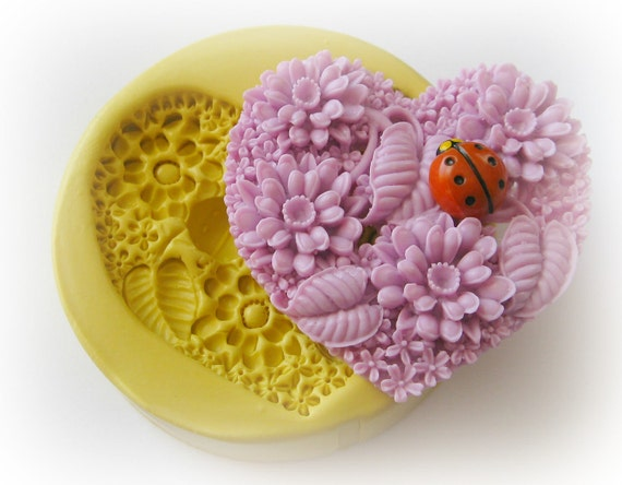 Lady Bug Flower Heart Mold Silicone Soap Clay Resin Mould