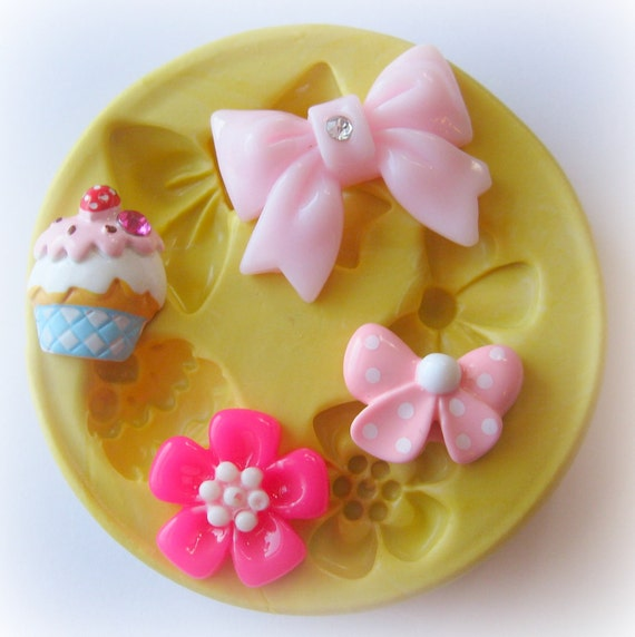 Bow Flower Ice Cream Mold Fondant Resin Polymer Clay Mold Cupcake Topper