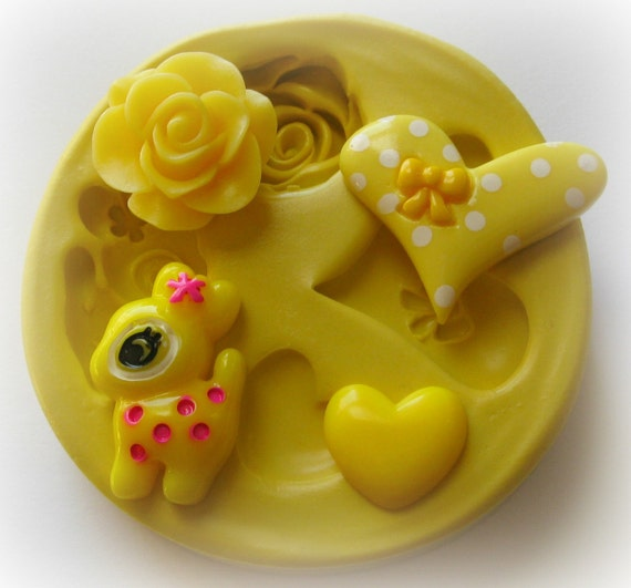 Deer Flower Heart Rose Polymer Clay Flowers Cabochon Mold Resin Clay Mould