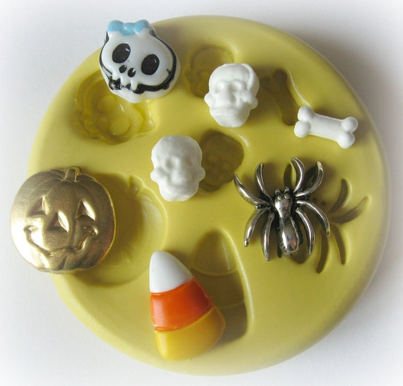 Spider Charm Mold Halloween Steampunk Resin Polymer Clay Wax Mold Mould