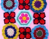 Japanese Flower. African Flower and four petal flower crochet patterns