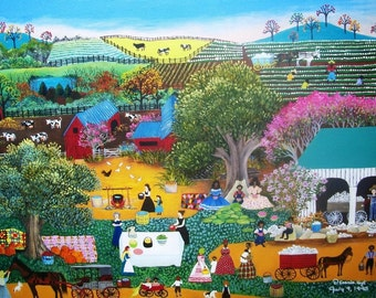 18x24 folk art reproduction of COTTON PICKIN LUNCHBREAK on canvas
