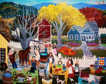 16x20 folk art reproduction  on canvas of  BUTCHERIN DAY