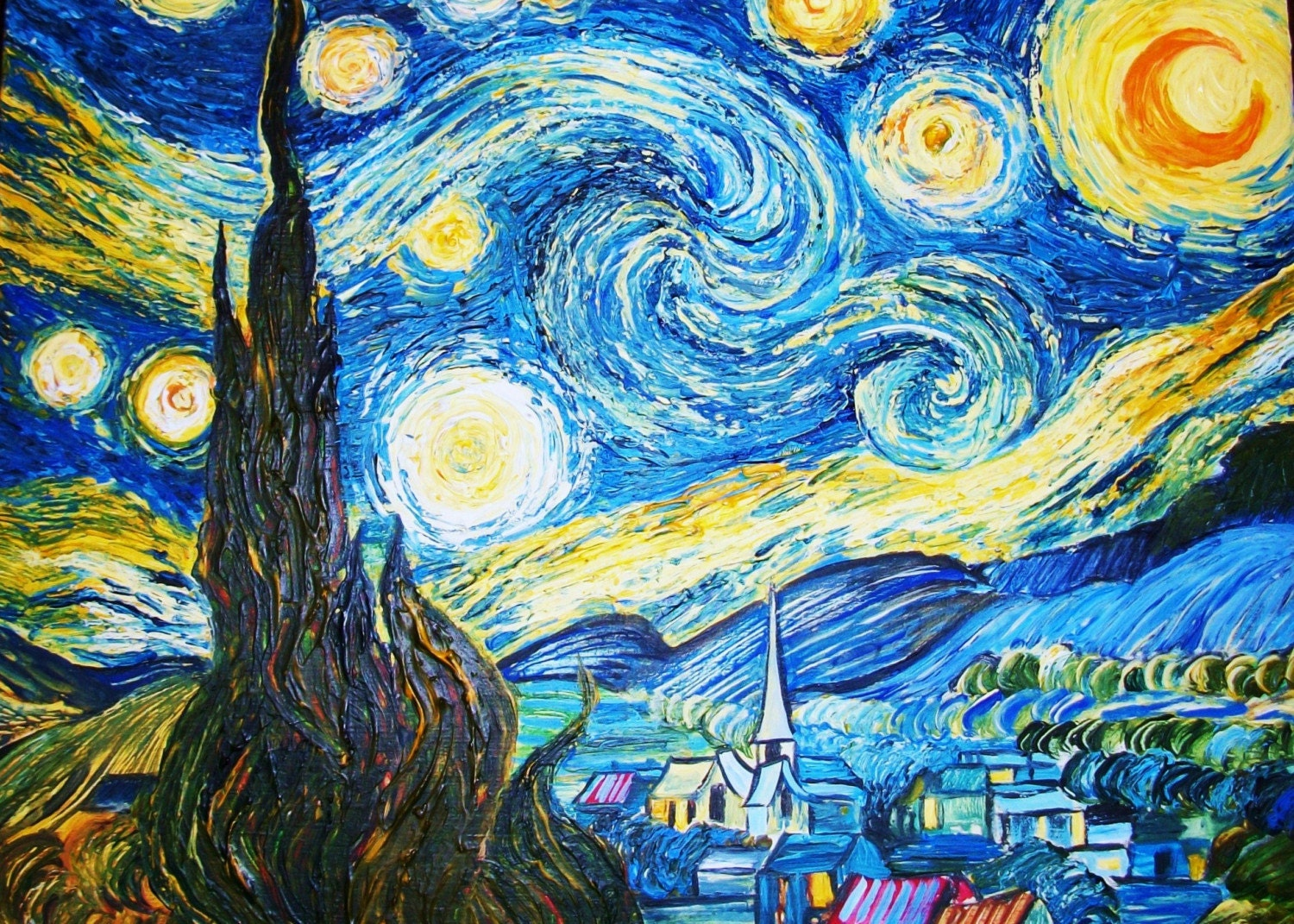 an analysis of the painting starry night by vincent van gogh Van gogh painted this in may of 1890 while he was staying in a mental hospital  in  starry night with a cypress tree and swirling sky  in eternity's gate: the  spiritual vision of vincent van gogh, kathleen powers erickson.