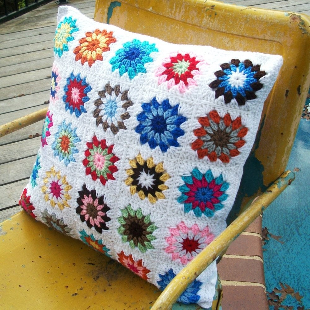 Square crocheted pillow with four button closure granny square crocheted pillow with four button closure bankloansurffo Choice Image
