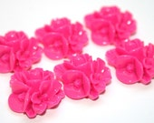 6 Fancy Floral Hot Pink Cabochon 16mm DIY Bobbies Earrings Pendants