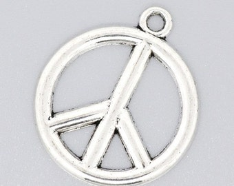 2 Bright Silver Peace Charm Pendants 25x29mm