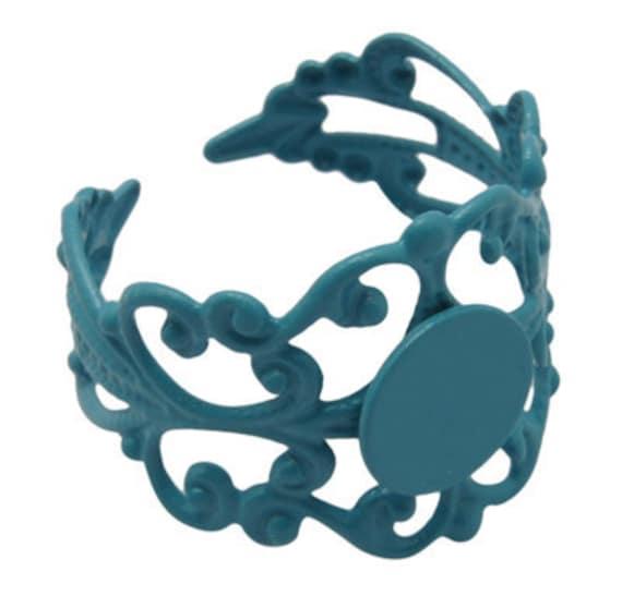 4 Filigree Turquoise Enameled Ring Blanks DIY 8mm Glue Pad