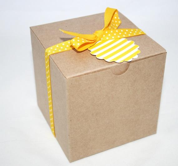 20 4 X 4 inch Kraft Paper Favor Boxes