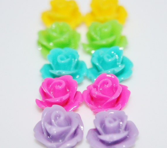 Fancy Summer Mix DIY 5 Pairs of Earrings 10 10mm Flower Cabochons and Earring Blanks and Backs
