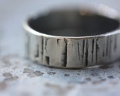 RING Birch Bark - Hammered Silver Ring - Simple Band - Earthy Tree Ring