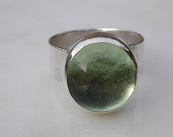 """RING Silver with Olive Green Glass """"Nina"""" Ring - Made to Order"""
