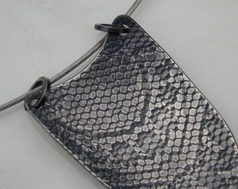 PENDANT Silver Shield Pendant with Lace Texture - One of a Kind Necklace - Made to Order