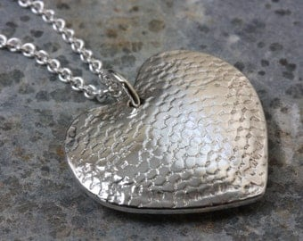 PENDANT Heart String - Reversible Silver Heart Pendant with Lace Texture - Made To Order