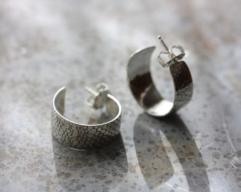 EARRINGS Silver Hoops with Lace Texture - Made to Order