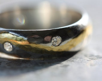 RING Custom Engagement Ring -  Handcrafted Silver and Gold with Diamonds - Made To Order