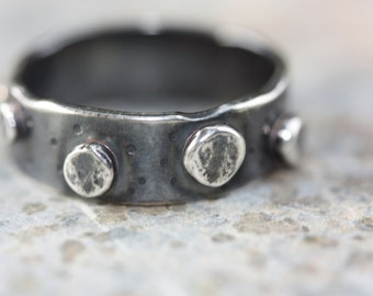 """RING Hammered Silver Band - Ring With Large Granules and Gunmetal Grey Patina - """"Asteroid"""""""