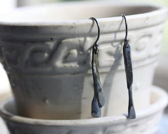 EARRINGS Recycled Silver - Asymmetrical Dangles - Edgy - Oxidized Blackened Patina Earrings