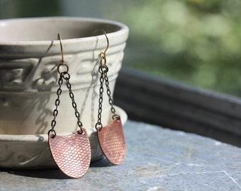 EARRINGS Long Copper Dangles - Warm Colors - Chain Earrings