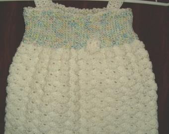 White Ruffle Baby Doll Dress, Crochet
